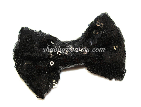 Large Sequin Bow - Black