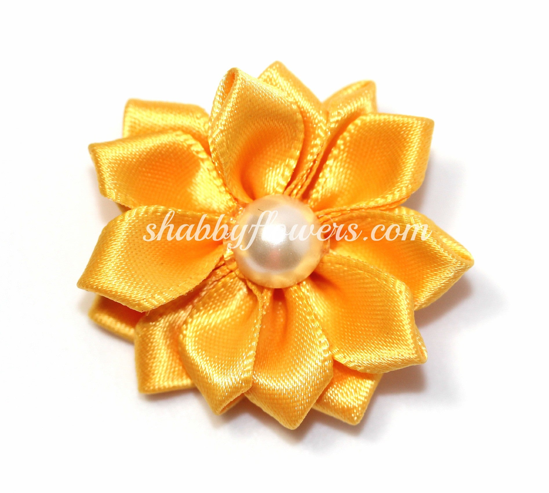 Satin Pearl Flower- Gold - shabbyflowers.com