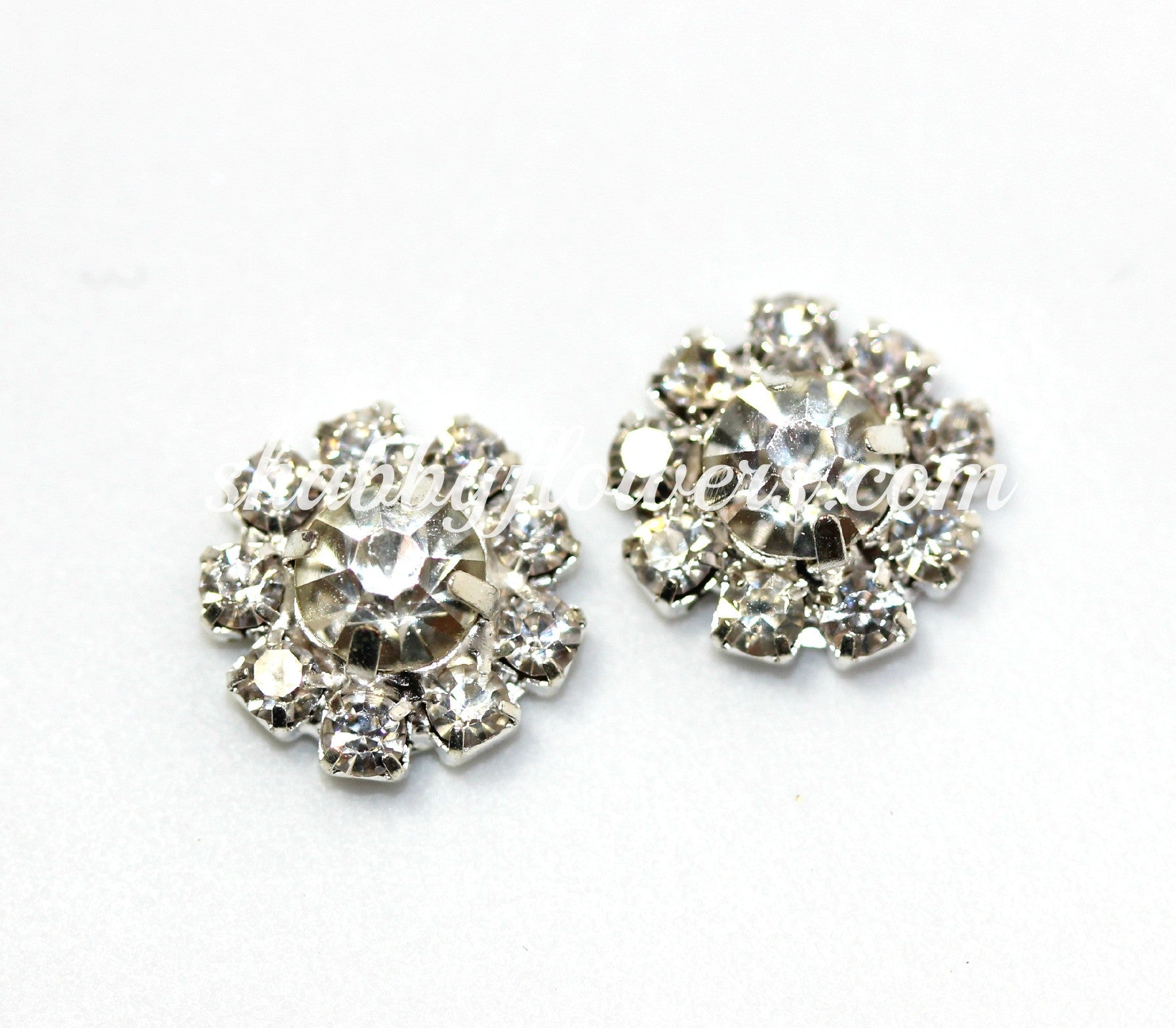 Embellishment - SILVER Small Rhinestone in CLEAR - shabbyflowers.com