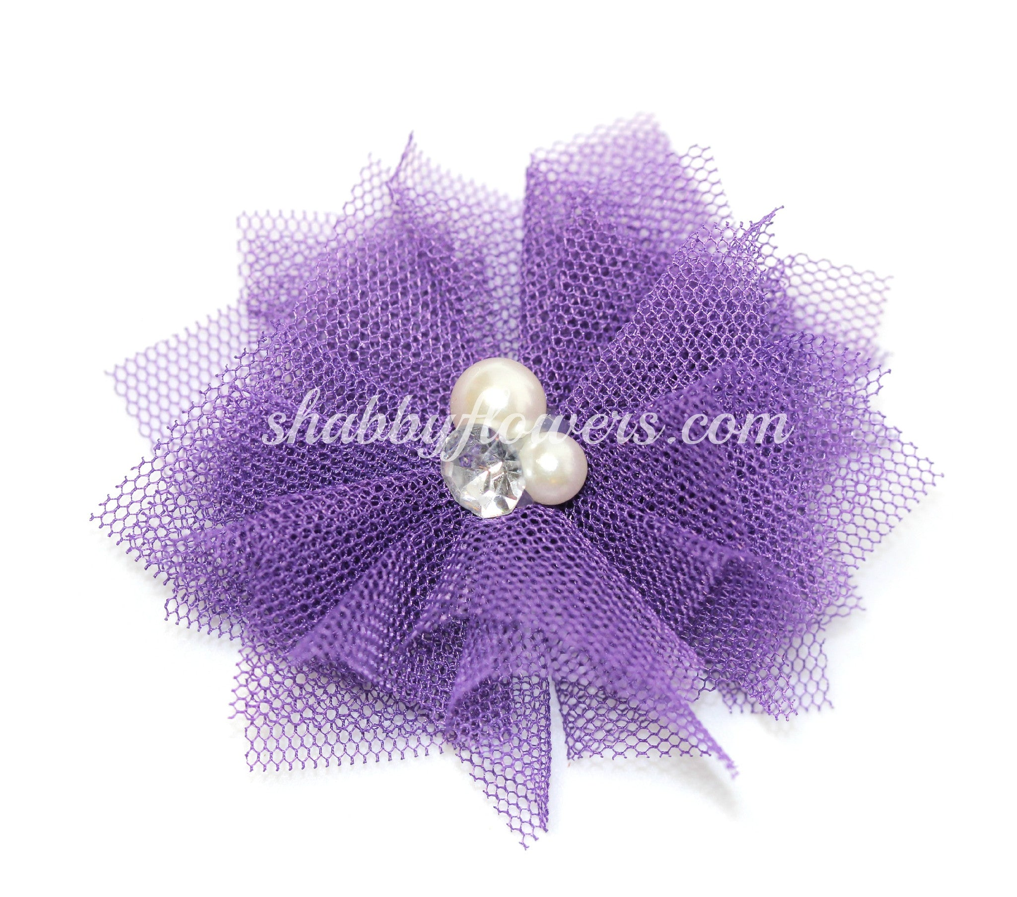 Tulle Pearl Flower - Purple - shabbyflowers.com