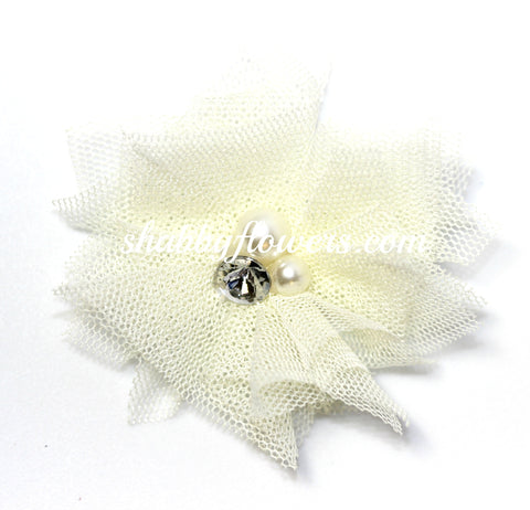 Tulle Pearl Flower - Ivory