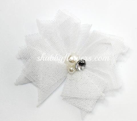 Tulle Pearl Flower -White