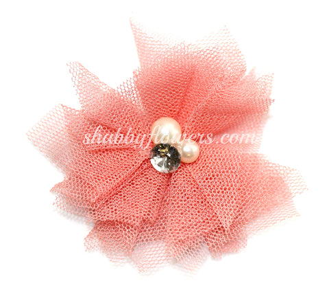 Tulle Pearl Flower - Salmon