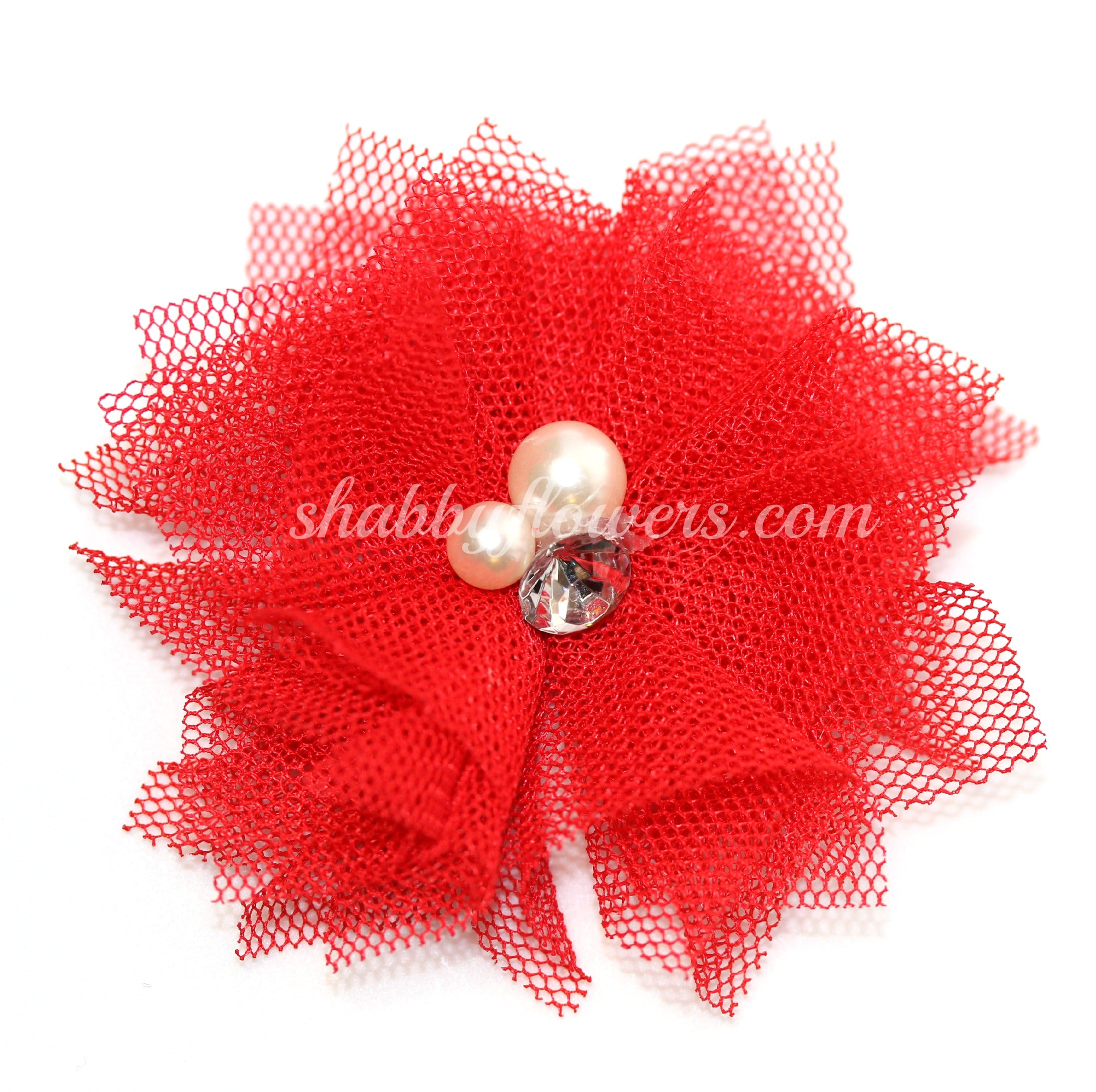 Tulle Pearl Flower - Red - shabbyflowers.com