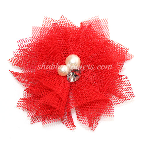 Tulle Pearl Flower - Red