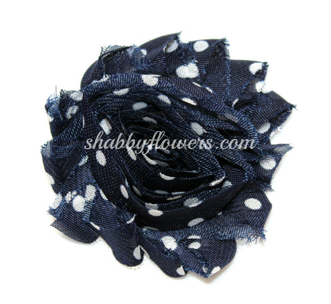 Shabby Flower - Navy with White Dots