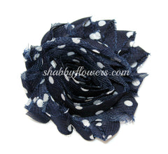 Shabby Flower - Navy with White Dots - shabbyflowers.com