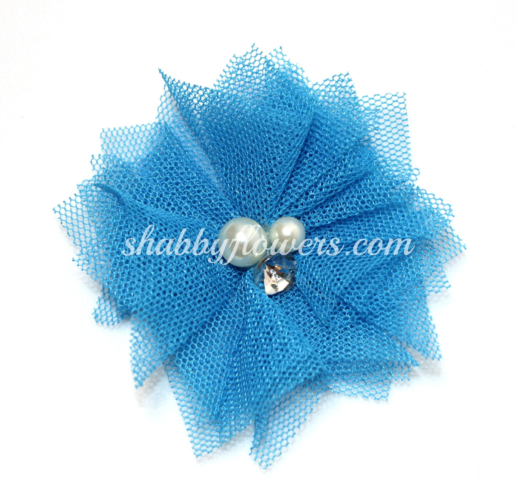 Tulle Pearl Flower - Mystic Blue - shabbyflowers.com
