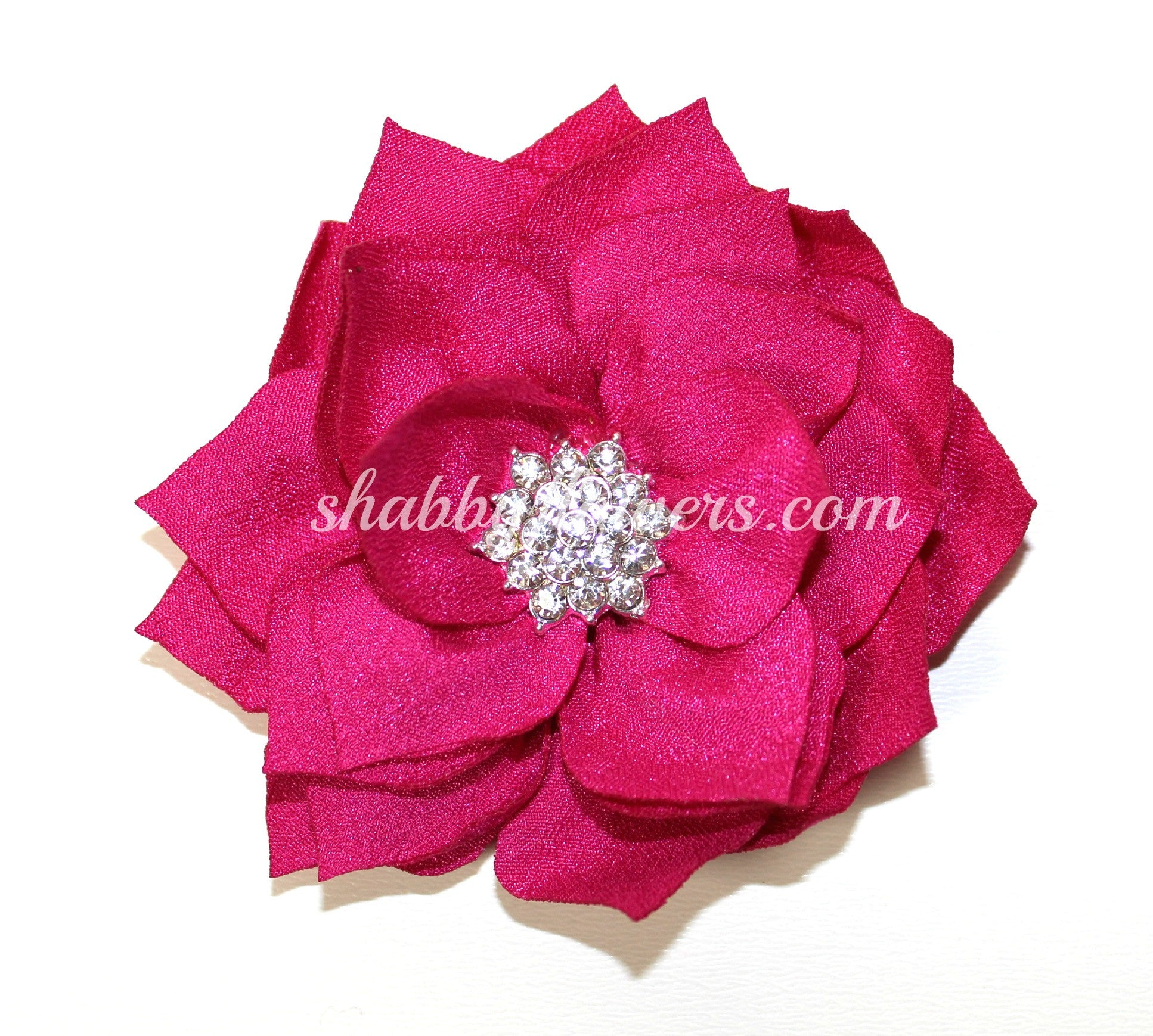 Lotus Rhinestone Flower - Hot Pink - shabbyflowers.com