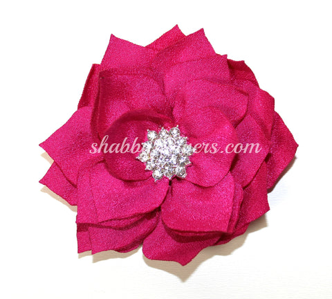 Lotus Rhinestone Flower - Hot Pink
