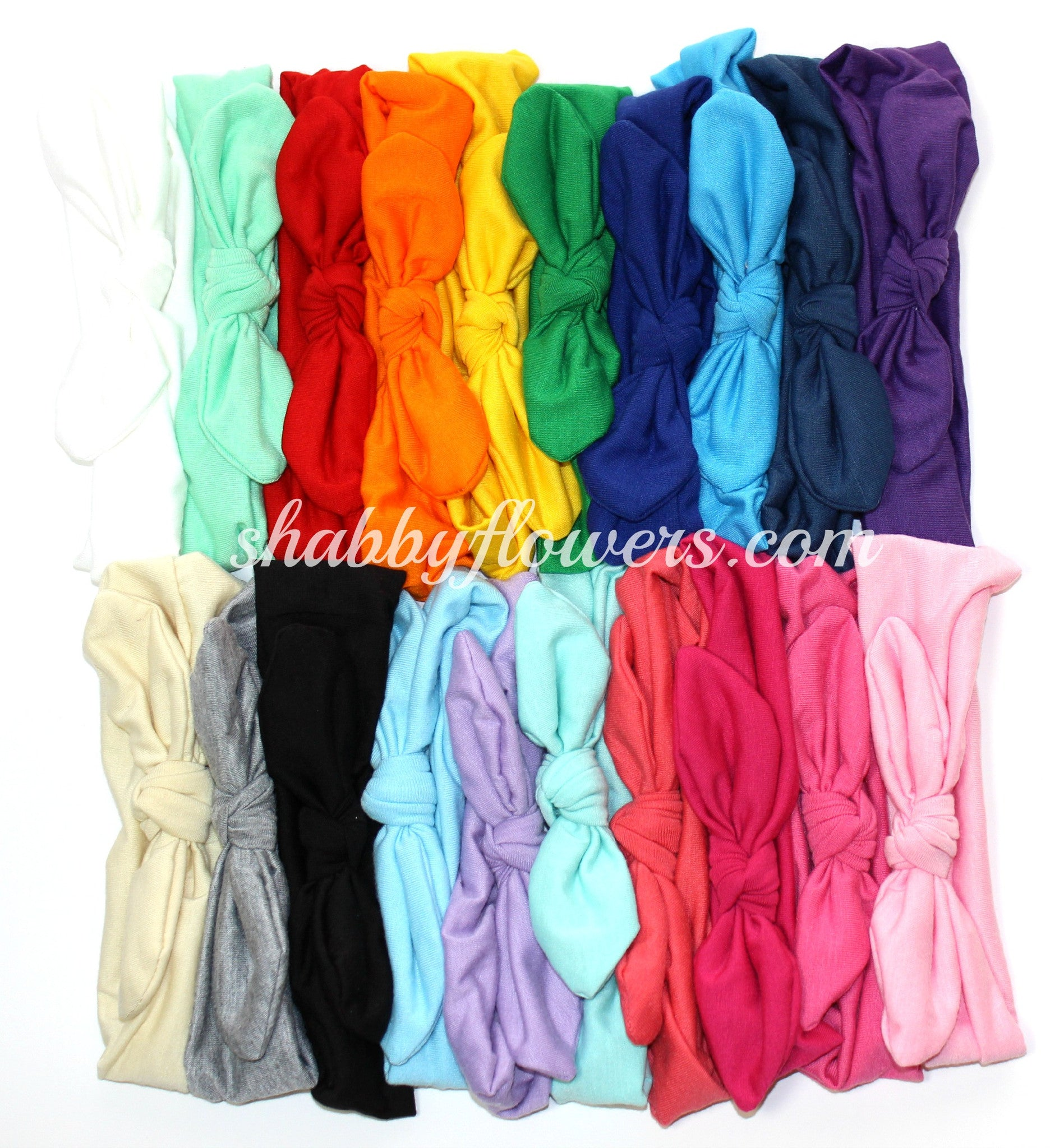 Knot Headband Pack of 20 Solid Colors - Set #9 - shabbyflowers.com