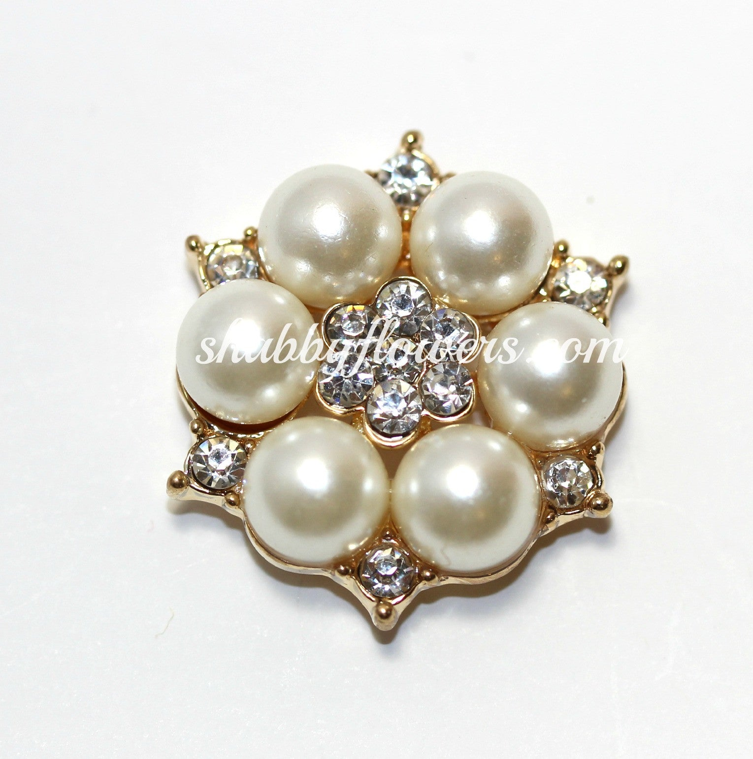Embellishment - Pearl Flower Rhinestone - Gold - shabbyflowers.com