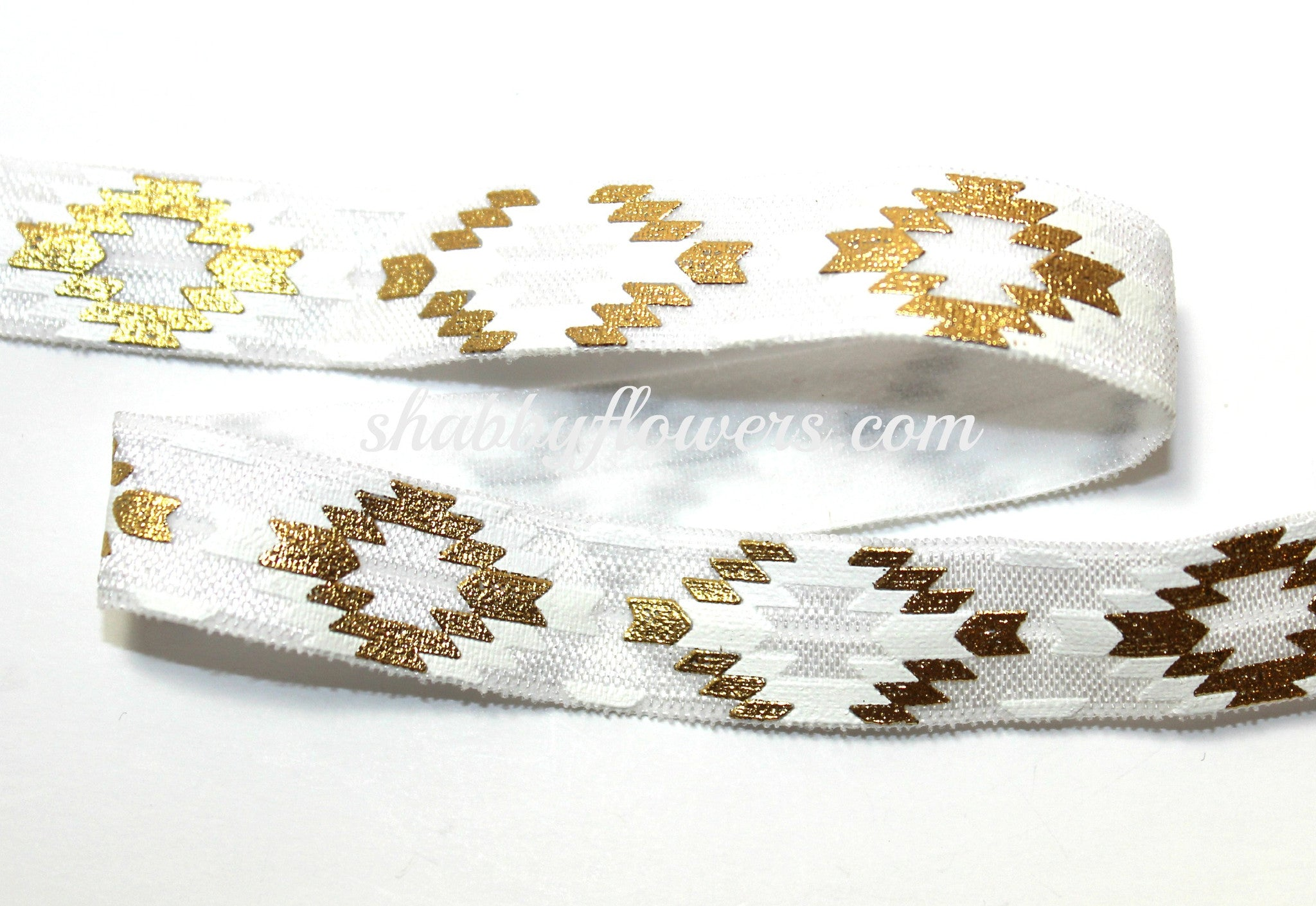 Elastic - Gold Foil Aztec on White - shabbyflowers.com