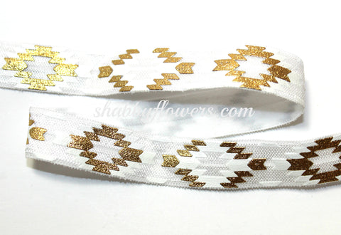 Elastic - Gold Foil Aztec on White