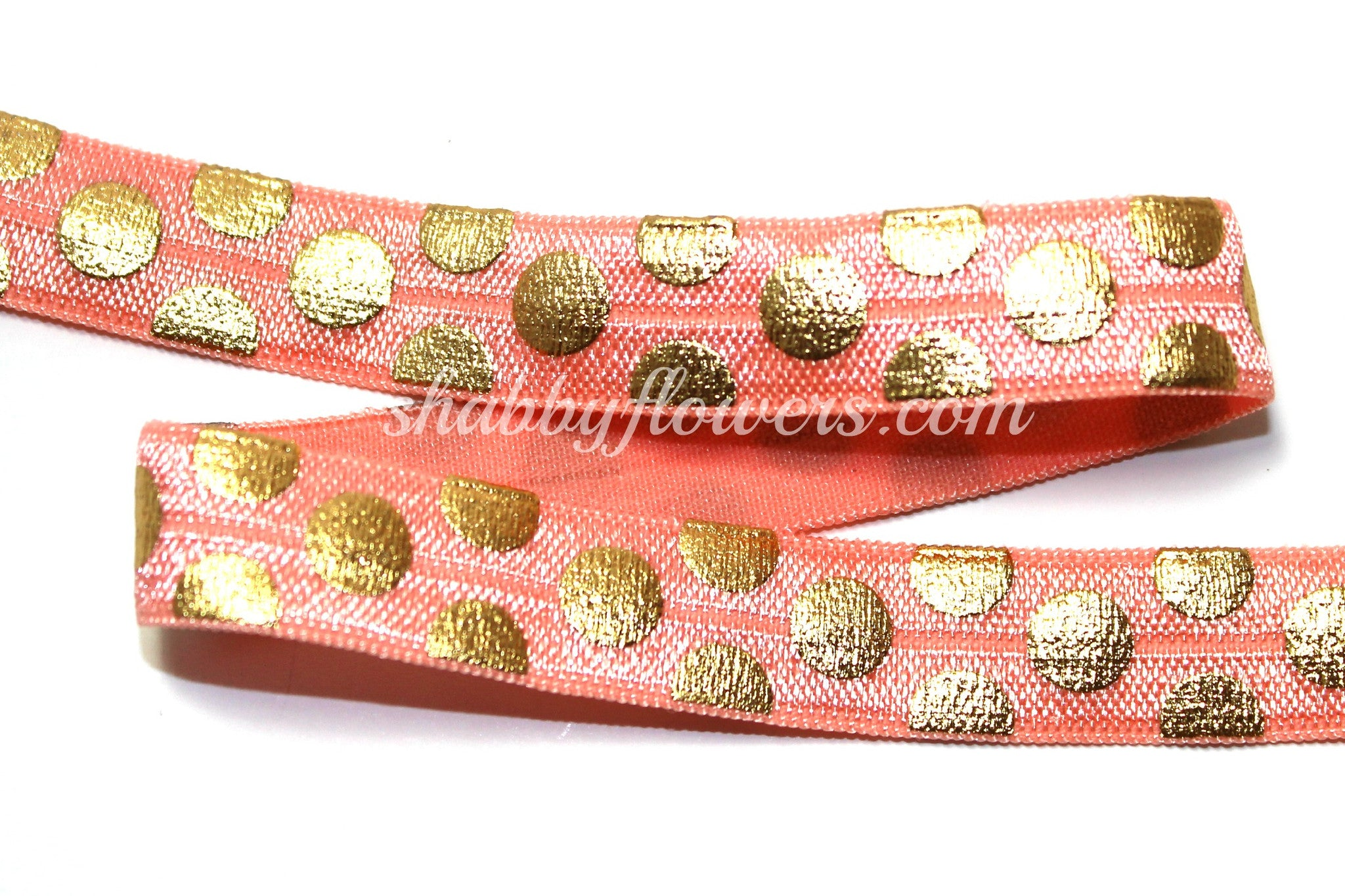 Elastic- Gold Foil BIG Dots on Light Coral - shabbyflowers.com