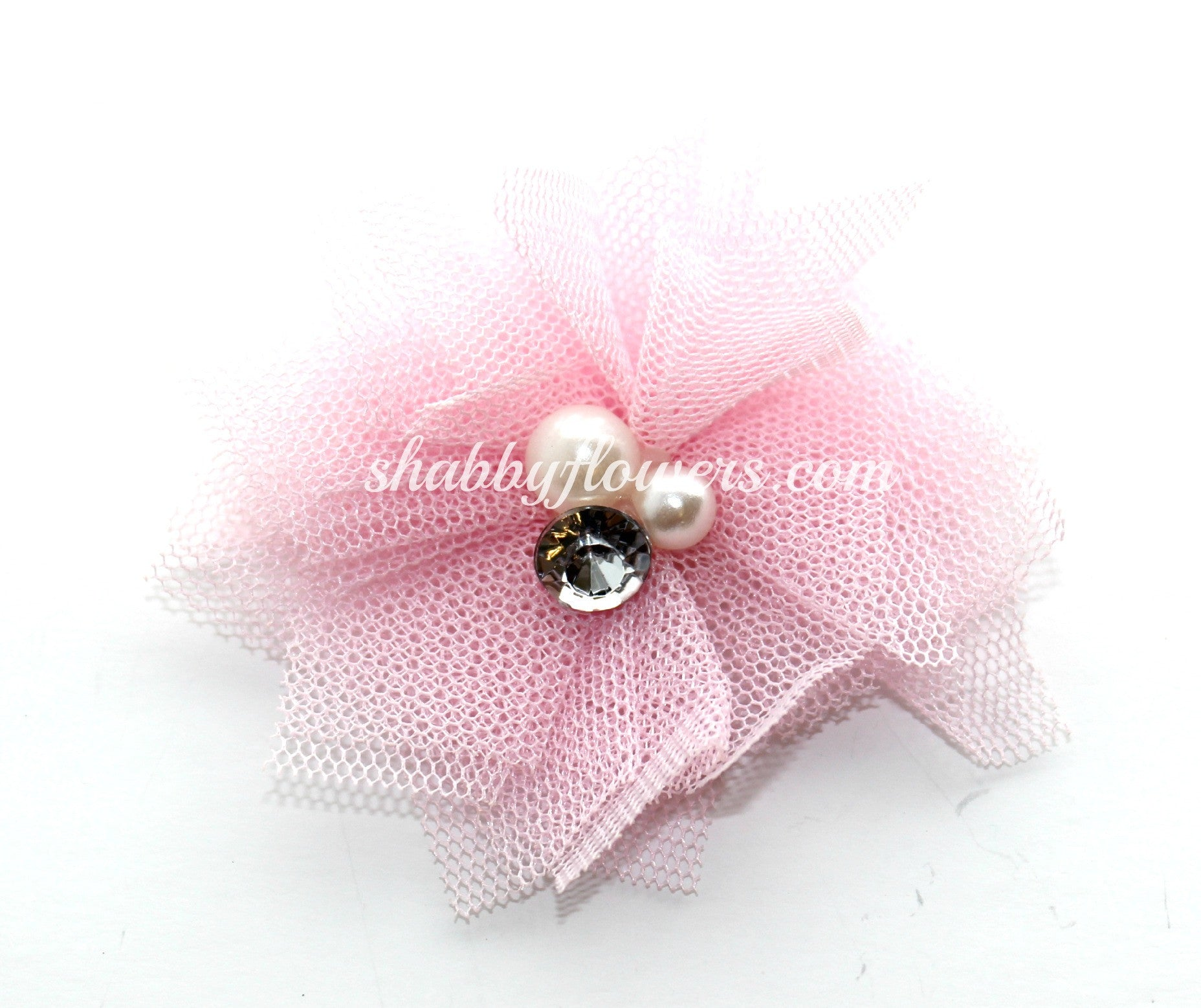 Tulle Pearl Flower -Light Pink - shabbyflowers.com