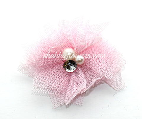 Tulle Pearl Flower -Light Pink