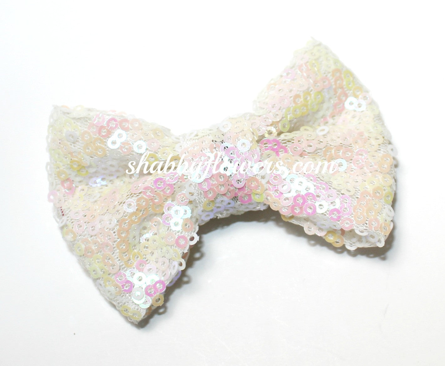 Medium Sequin Bow - White - shabbyflowers.com