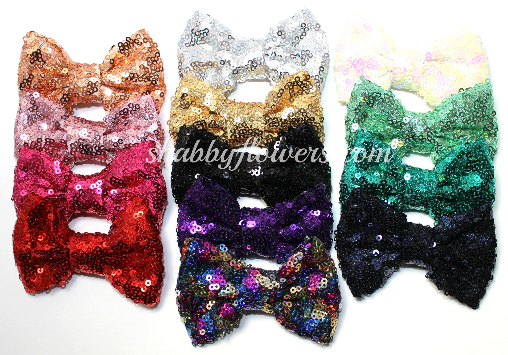 Medium Sequin Bow Pack of 15 - shabbyflowers.com