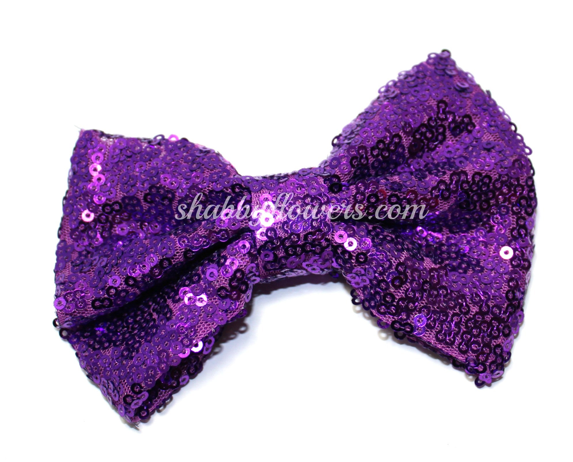 Medium Sequin Bow - Grape - shabbyflowers.com