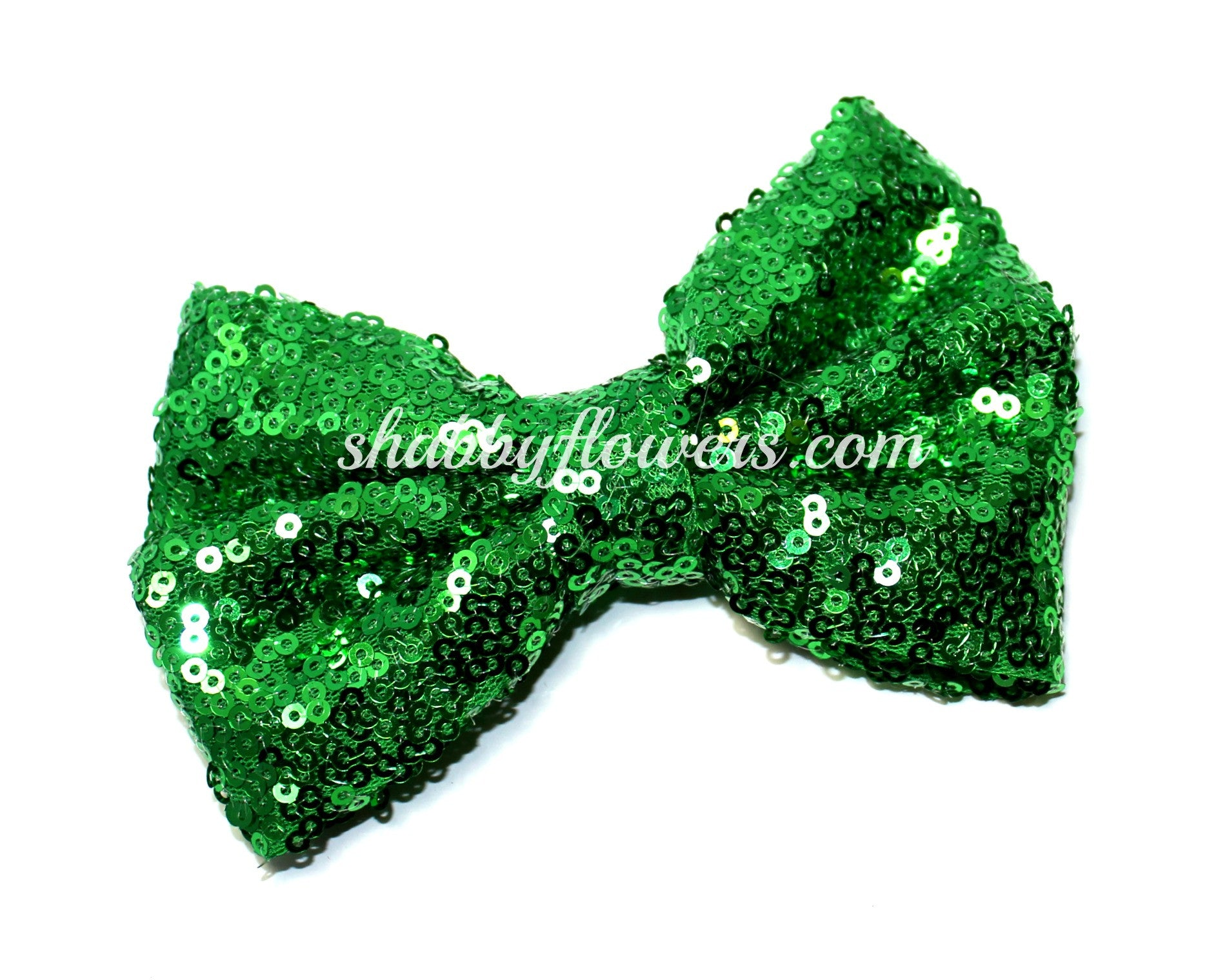 Large Sequin Bow - Green - shabbyflowers.com