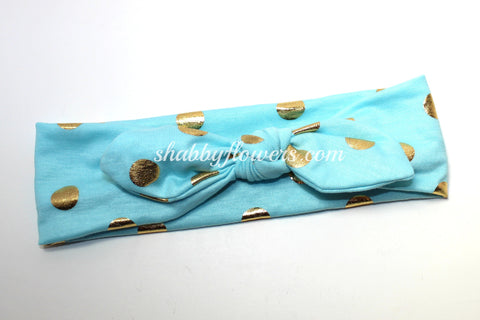 Knot Headband- Gold Foil Dots on Aqua - Small