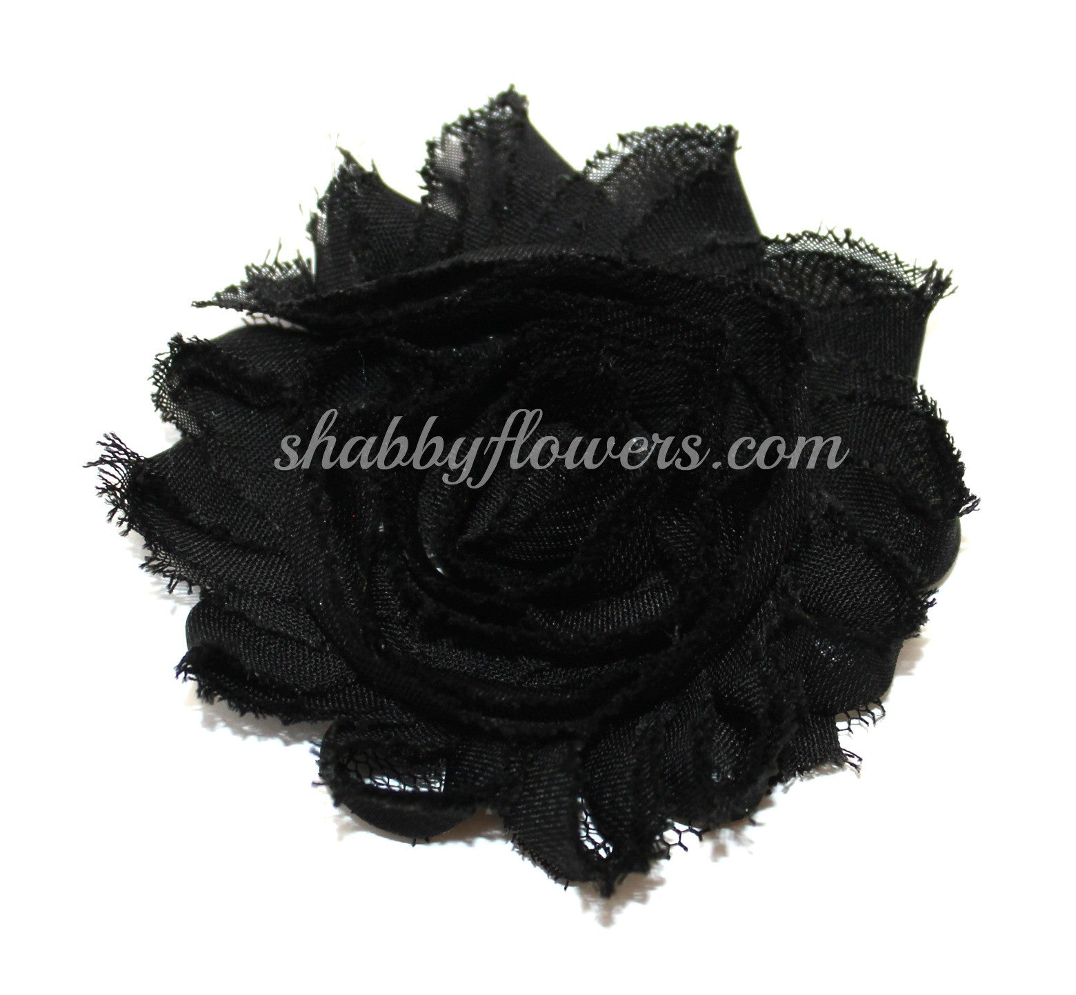 Shabby Chiffon Flower- Black - shabbyflowers.com
