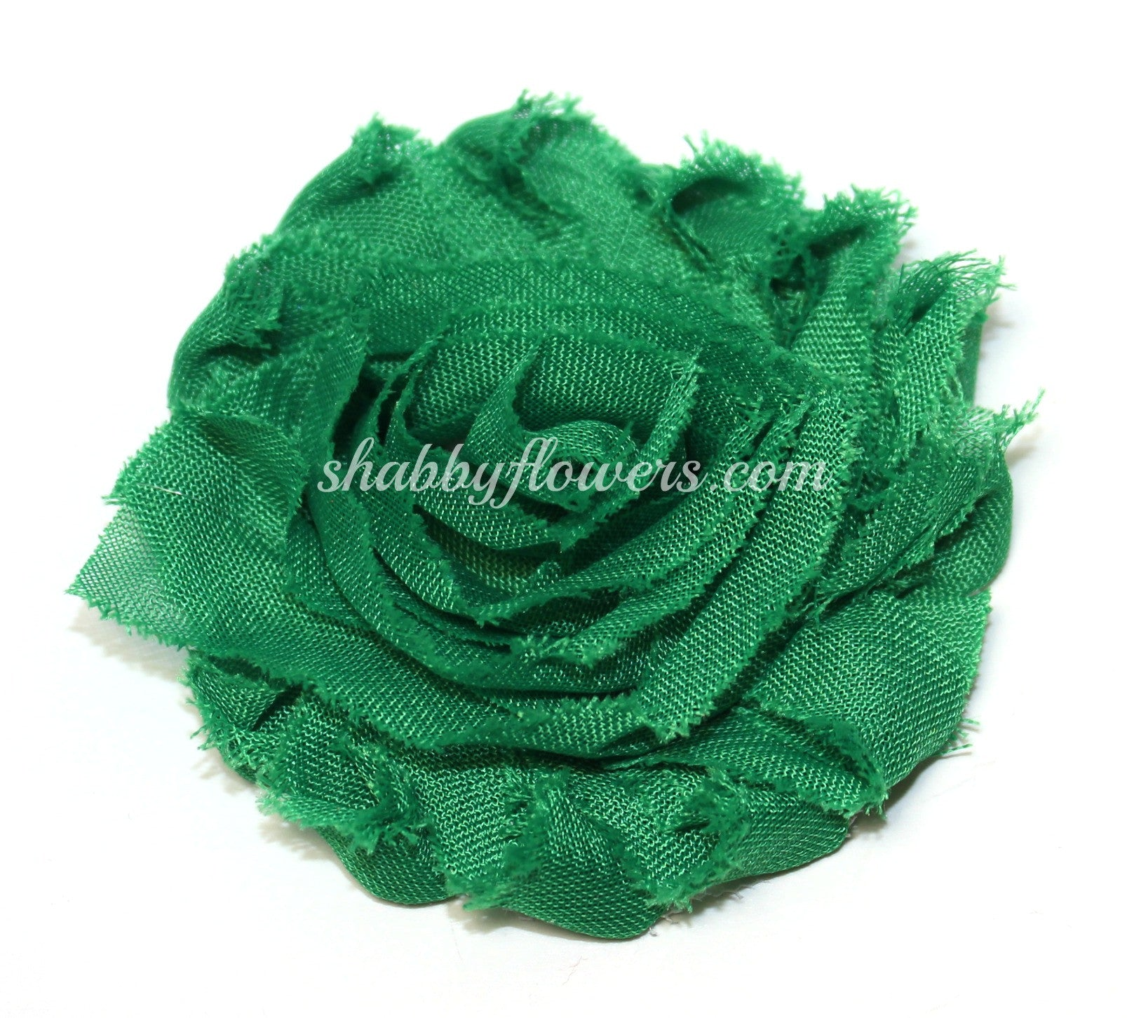 Shabby Chiffon Flower - Emerald Green - shabbyflowers.com