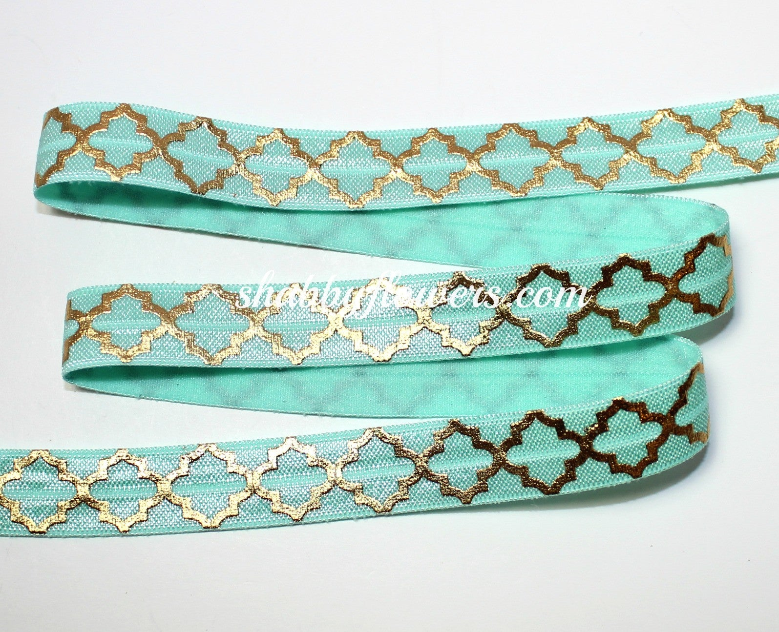 Elastic- Gold Foil Quatrefoil on Mint - shabbyflowers.com
