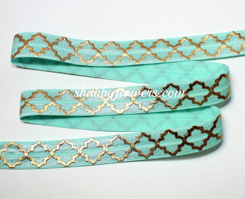 Elastic- Gold Foil Quatrefoil on Mint
