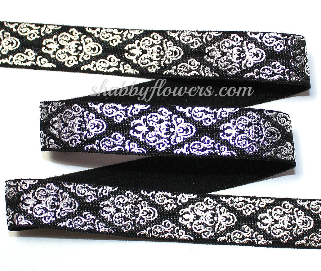 Elastic - Silver Foil Damask on Black - shabbyflowers.com