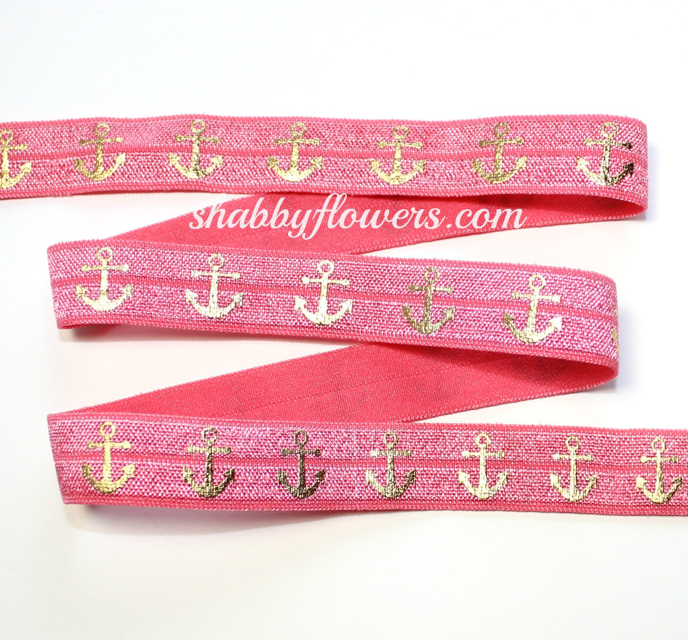 Elastic - Gold Foil Anchors on Watermelon - shabbyflowers.com