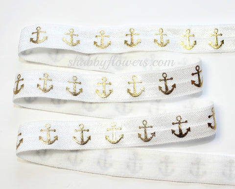 Elastic - Gold Foil Anchors on White