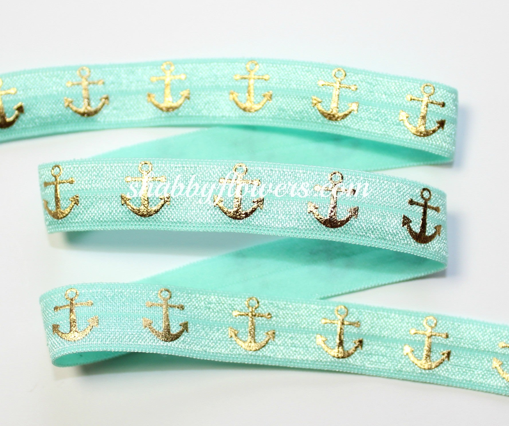 Elastic - Gold Foil Anchors on Mint - shabbyflowers.com