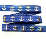 Elastic - Gold Foil Anchors on Navy - shabbyflowers.com
