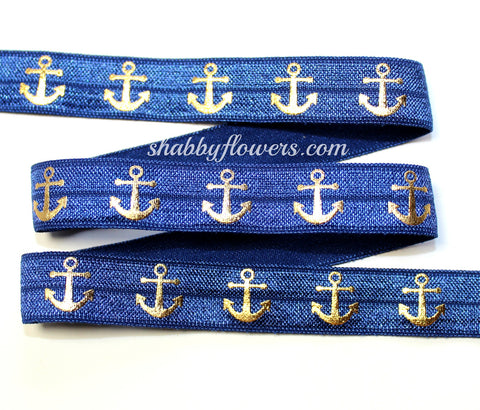 Elastic - Gold Foil Anchors on Navy