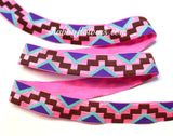 Elastic - Aztec Pattern on Pink - shabbyflowers.com
