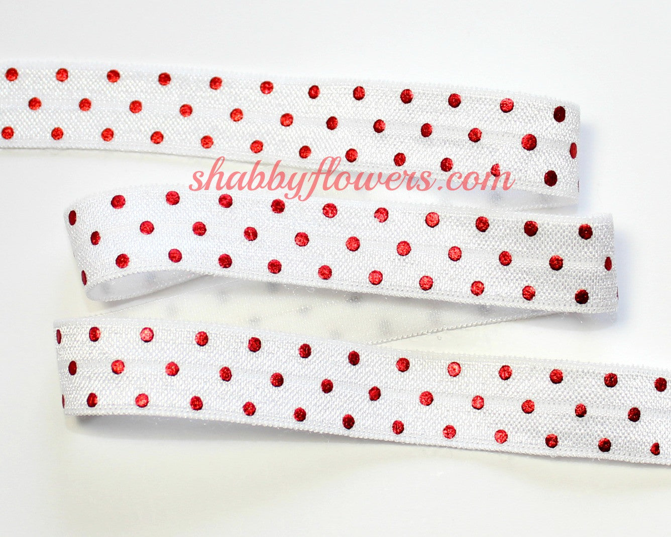 Elastic - Red Foil Dots on White - shabbyflowers.com