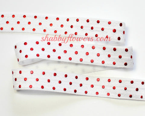 Elastic - Red Foil Dots on White