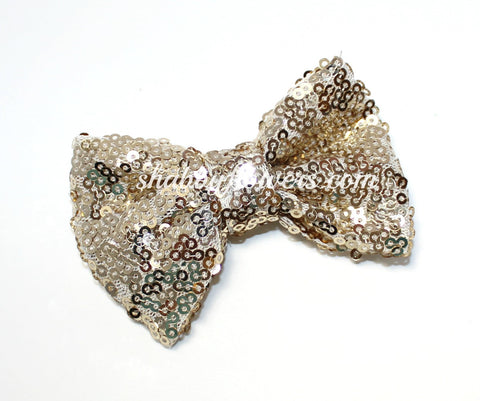 Medium Sequin Bow - Champagne