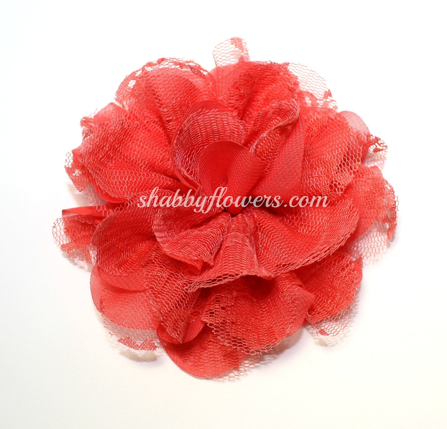 Chiffon and Lace Flower - Coral - shabbyflowers.com