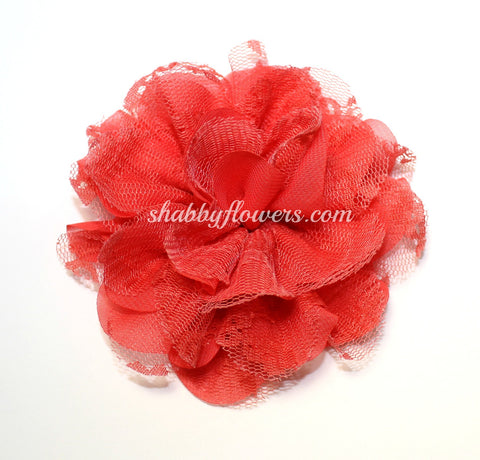 Chiffon and Lace Flower - Coral