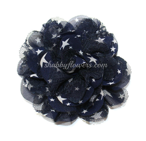 Chiffon and Lace Flower - Navy Star