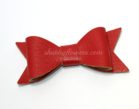 Faux Leather Bow - Red