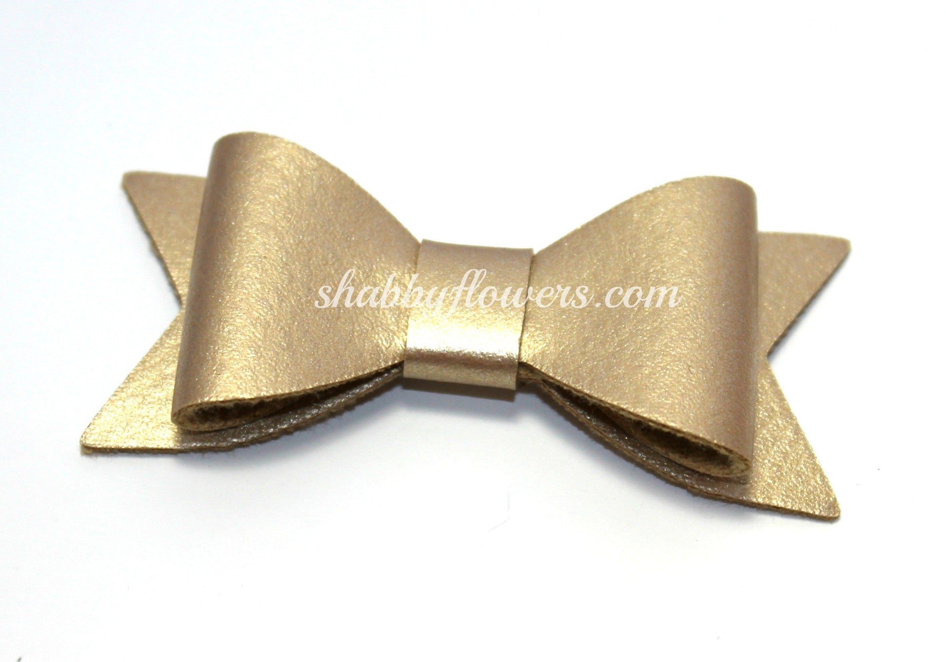 Faux Leather Bow with Clip - Gold - shabbyflowers.com