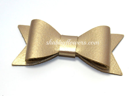 Faux Leather Bow with Clip - Gold