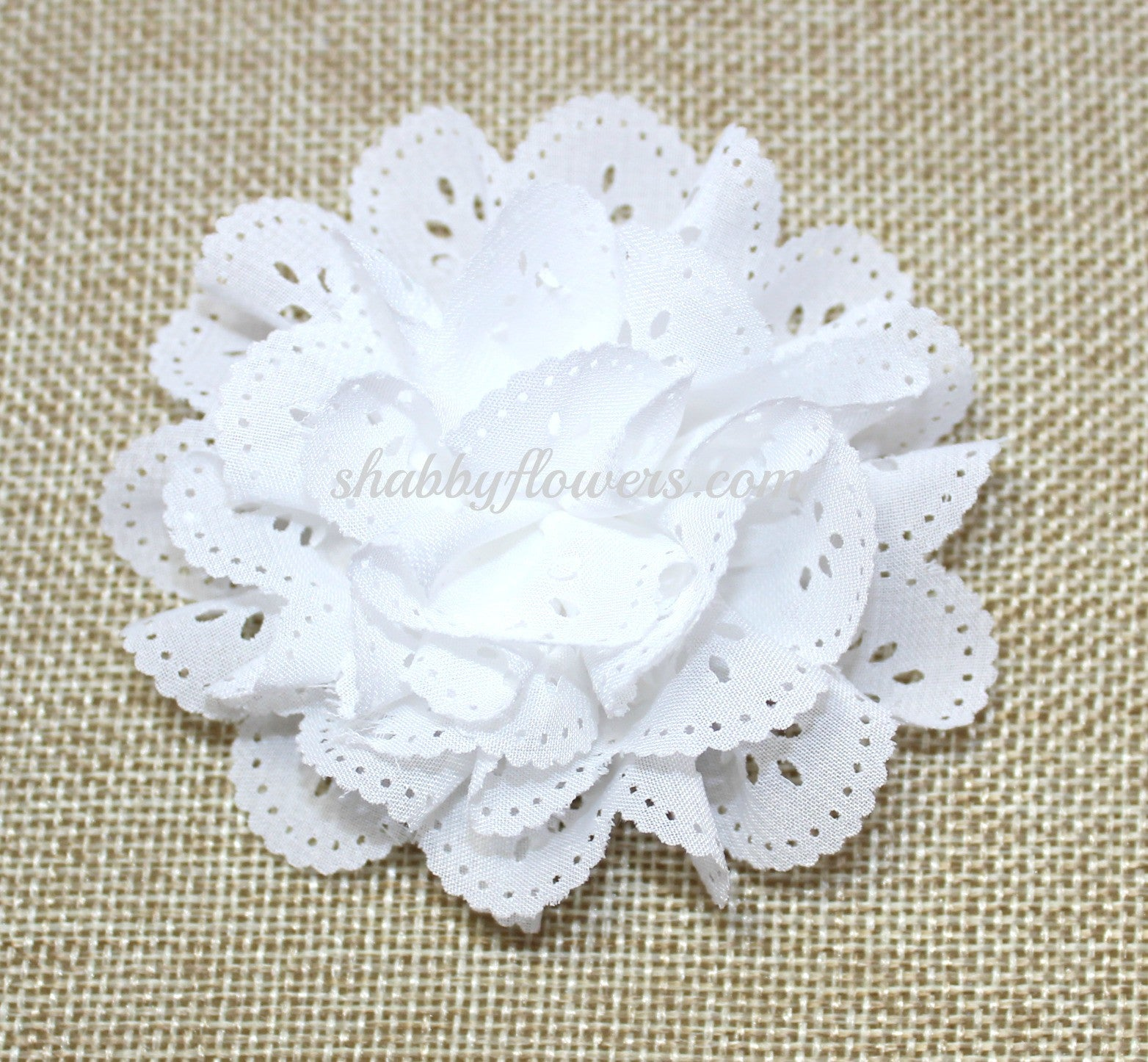Eyelet Flower- White - shabbyflowers.com