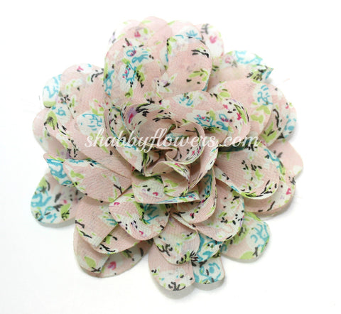 Large Chiffon Flower - Pale Pink Floral