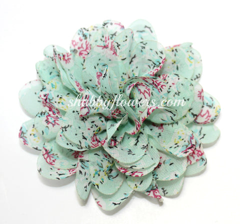 Large Chiffon Flower- Mint Floral
