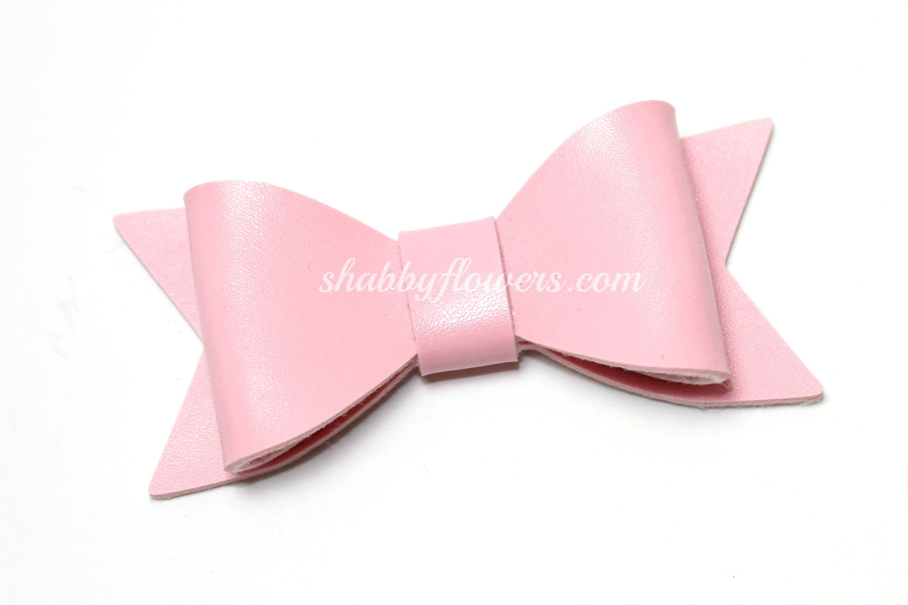 Faux Leather Bow - Light Pink - shabbyflowers.com